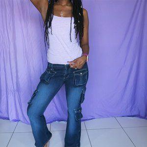 Vanilla Star dark wash cargo bell bottom jeans 5